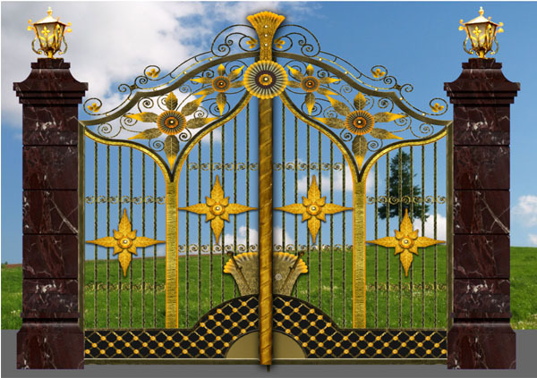2015 New Models Galcanized Cast Iron Square Tube Main Gate Design ...