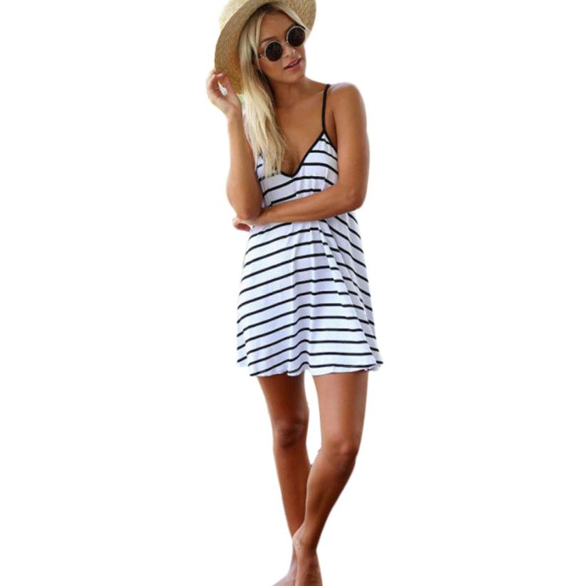 Горячая маркетинг женские летние сексуальный полоса спинки платье ну вечеринку коктейль клуб мини платье пляжа May19 tanwc