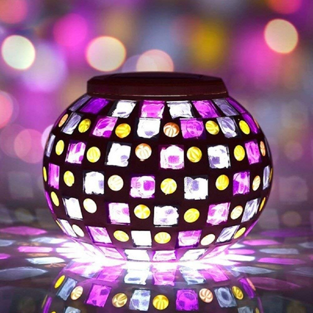 Svitlife Solar Power Mosaic Colorful LED Light Garden Waterproof Glass Ball Decoration Lamp Red & Blue