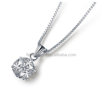 925 Sterling Silver Simple Design Diamond Cubic Cz Chain Necklace