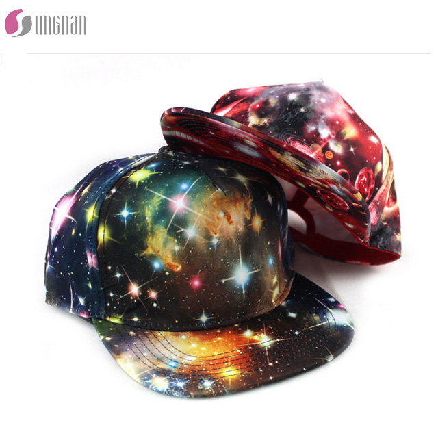 wholesale 3D sublimated custom printed hip hop colorful starry sky design unisex 6 panel snapback hat