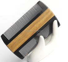 Customized Logo Green Sandalwood Buffalo Horn Double Teeth Beard Comb