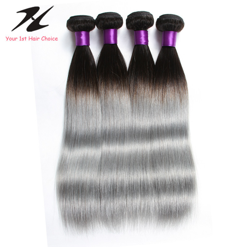 New Fashion 1B Silver Grey Human Hair Extensions Two Tone Ombre 3Pcs/lot Brazilian Straight Hair Silver Human Hair Extensions