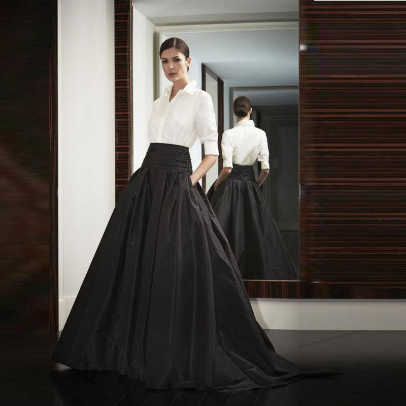 Black Satin Long Skirt 33