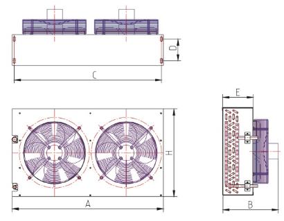 55000 W 25HP FNH Series แนวตั้งคอนเดนเซอร์ระบายความร้อนด้วยอากาศ Coil สำหรับอุปกรณ์ทำความเย็น