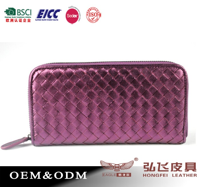 48cbf59d5b8a Rose Red Women Lady Leather Weave Clutch Zipper Long Wallet Card Coin Purse