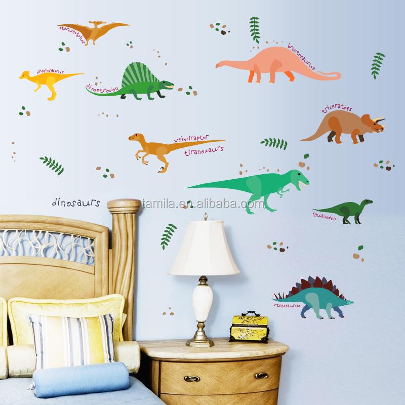 Urassic World Children Cartoon Dinosaur Wall Stickers For Kids Rooms Wall  Decor Mural Art
