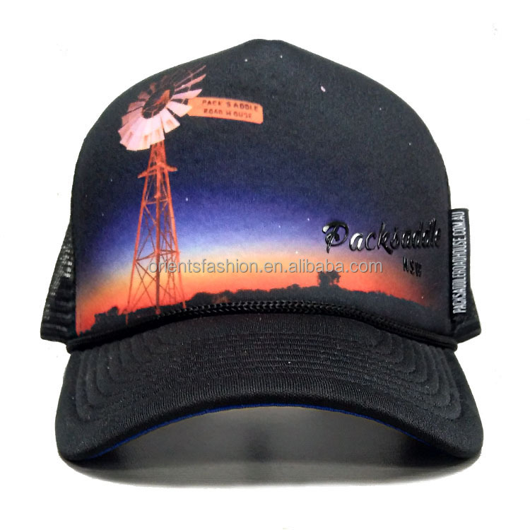 5c23d3070d517 Custom Sublimation Print 5 Panel Trucker Hats Caps