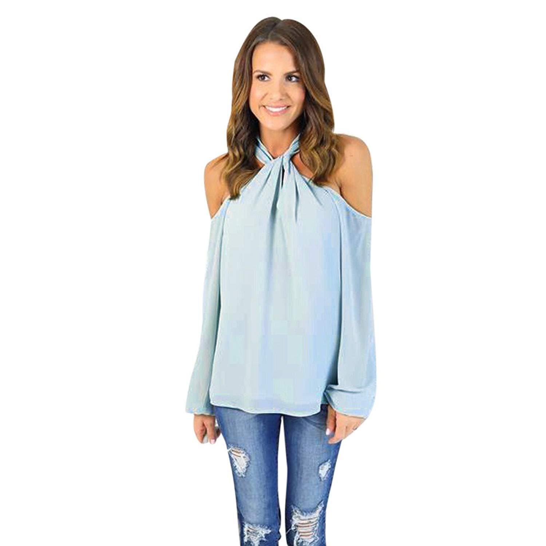 Hengshikeji Womens Casual Long Sleeve Shirts Off Shoulder Crop Top Sweatshirts Blouses Jumpers Teen Girls Tunic Pullover
