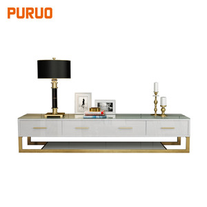 European antique style stainless steel MDF wooden cabinet tempered glass top home furniture TV stand