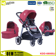 Aluminum 3in1 Baby Stroller with Carrying Cot Carseat European Standard EN1888