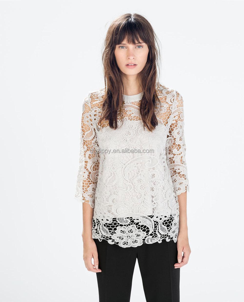 Women Lace Blouse Long Sleeve Lace Tops & Women Lace Tops