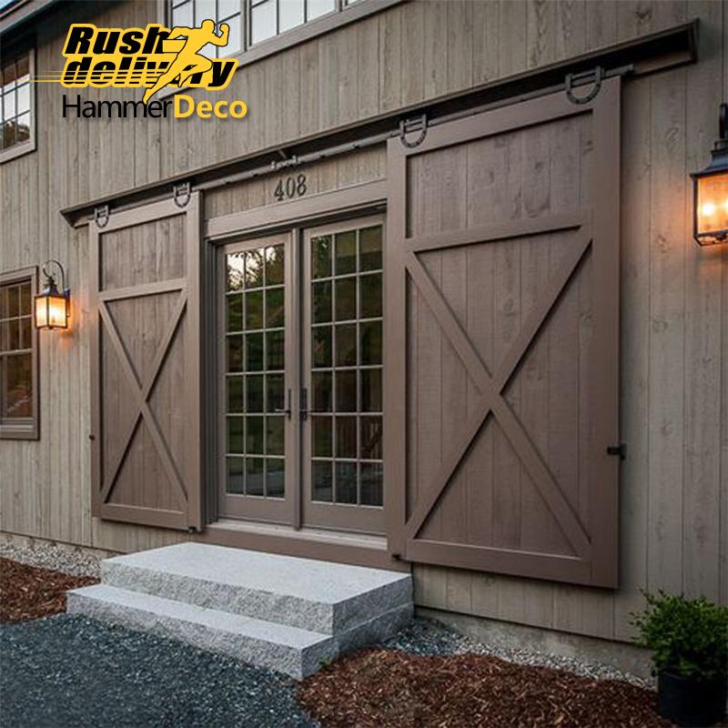 Modern Sliding Doors For Closet: Horseshoe U Shaped Modern Barn Wood Interior Double