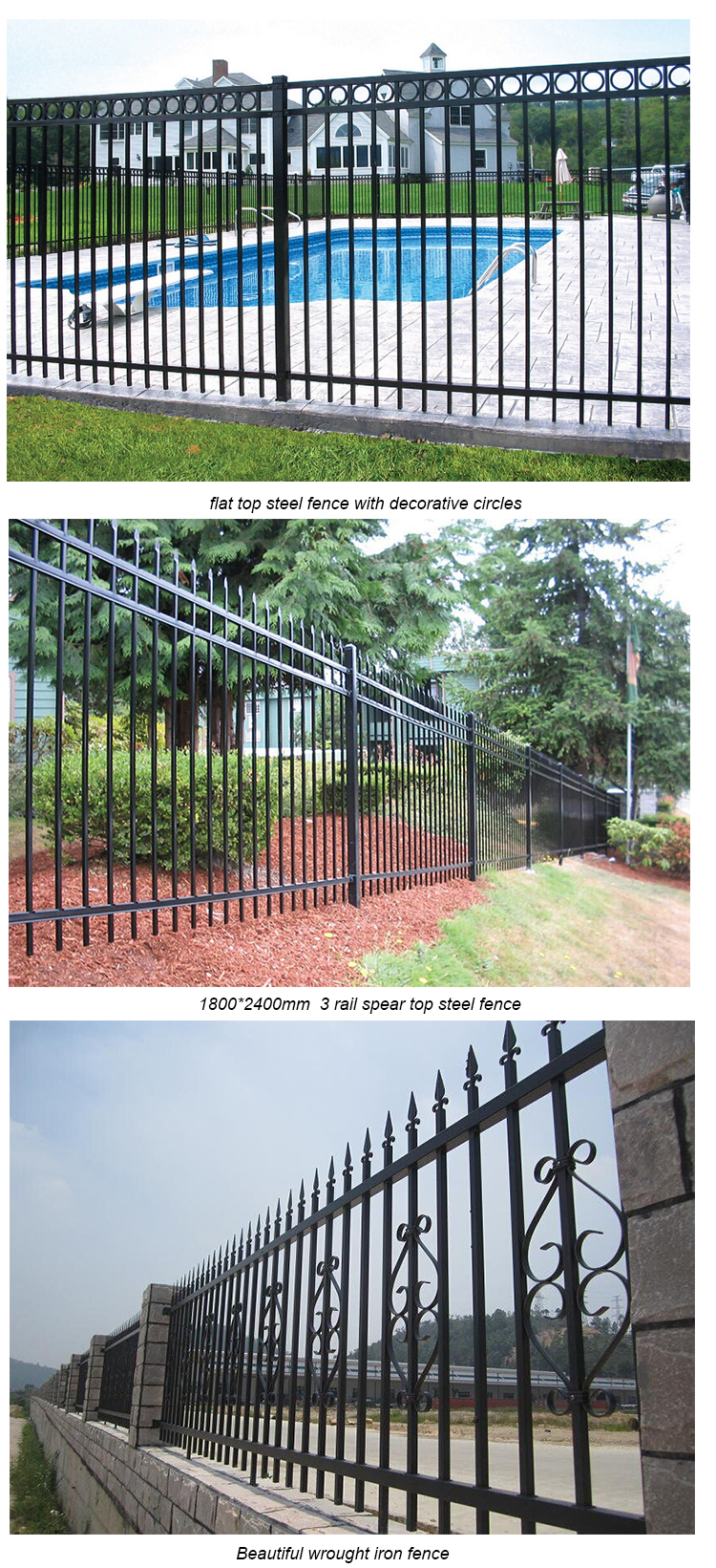 2015 Baochuan cheap wrought iron fence, cheap prefab fence panels, prefabricated steel fence