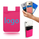 cell phone holder silicone wallet gift credit card cash pocket adhesive ID credit card holder mobile wallet custom logo