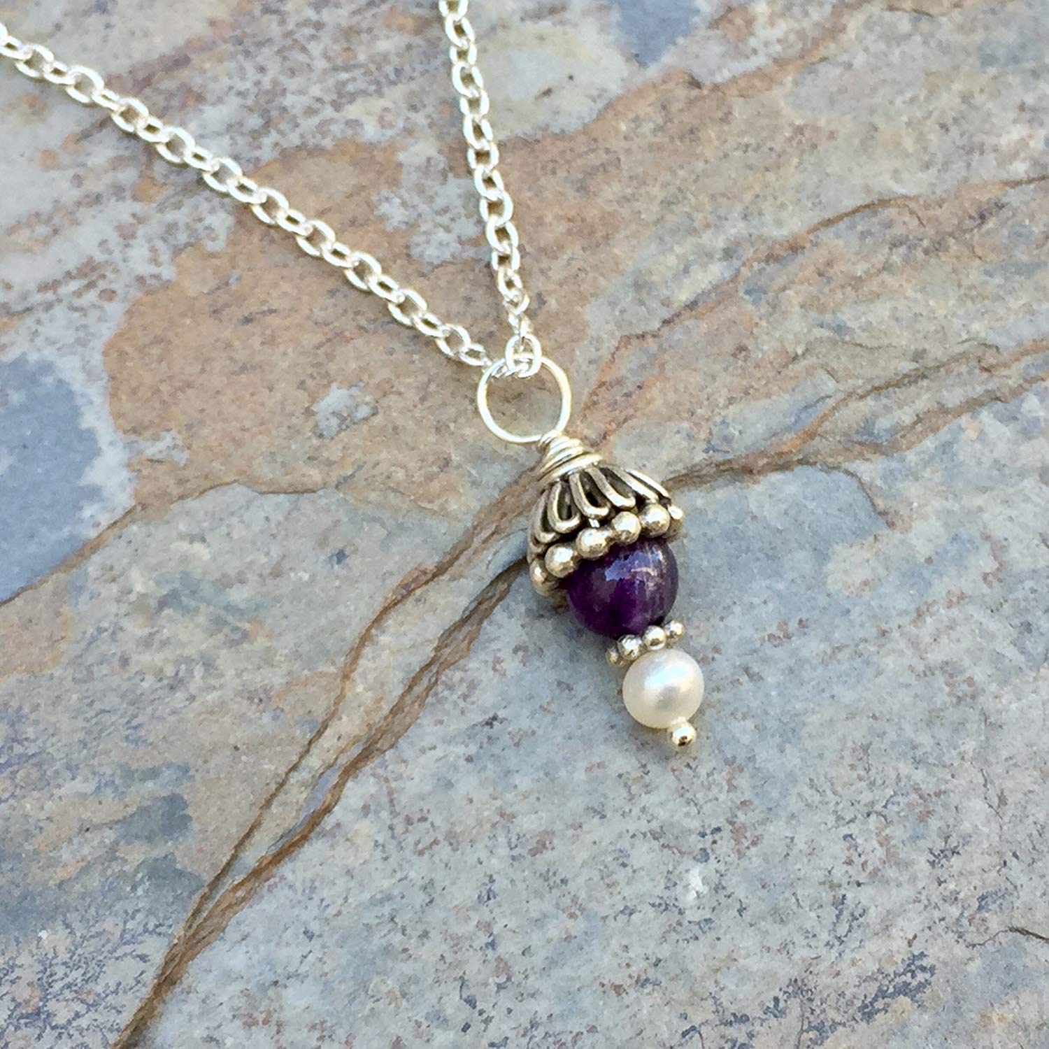9a5d97478ac Get Quotations · Amethyst Pendant Necklace, Amethyst and Pearl Necklace on Sterling  Silver Chain