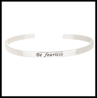 Be Fearless Personalized Message Handmade Silver Jewelry Bracelet
