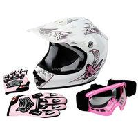 DOT Youth Pink Butterfly Dirt Bike ATV Helmet Motocross Goggles+gloves S M L