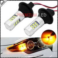 No Resistor Required Amber Yellow 21-SMD 3156 3357 3457 LED Bulbs For BMW Front Turn Signal Lights