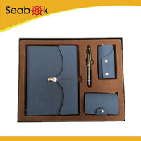 Corporate anniversary gifts business notebook gift set with ball pen and name card holder with keywallet