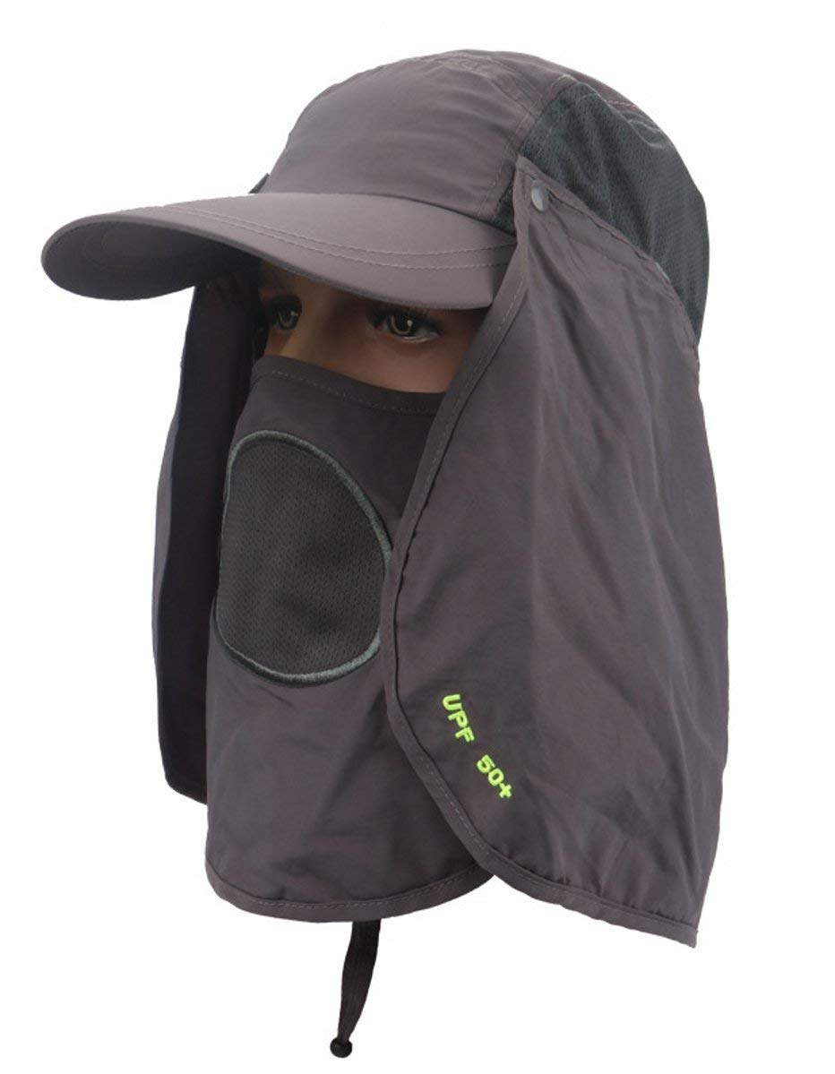 ESEL Quick Dry Sun Protection Fishing Hat UPF 50+ Lightweight Removable Face Neck Flap Cover Caps for Summer Outdoor