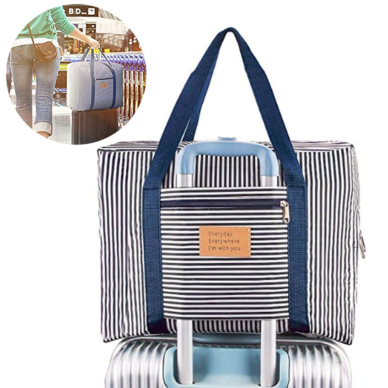 Foldable Travel Bag Waterproof Travel Duffel Bag,Women Ladies Man Canvas Weekender Bag Overnight Carry-on Tote Duffel in Trolley Handle (BLUE& RED STRIPE)