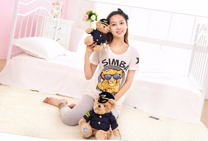 High Quality 1pc New Cute Pilot Teddy Bear Plush Toy Captain Bear Doll Birthday Gift Kids Toy Baby Doll