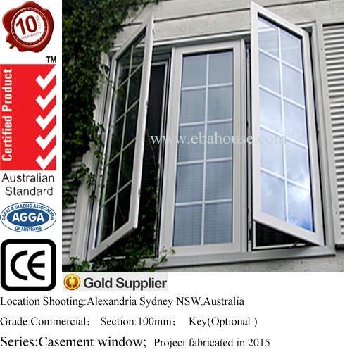 AS2047 Australia standard double glazed aluminium awning window