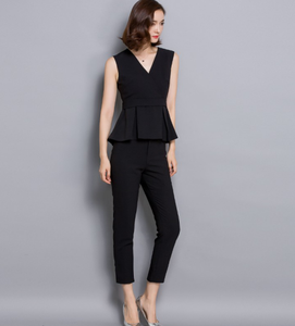 New arrival top and pant v neck sleeveless women casual suit OEM/ODM guangzhou manufacturer