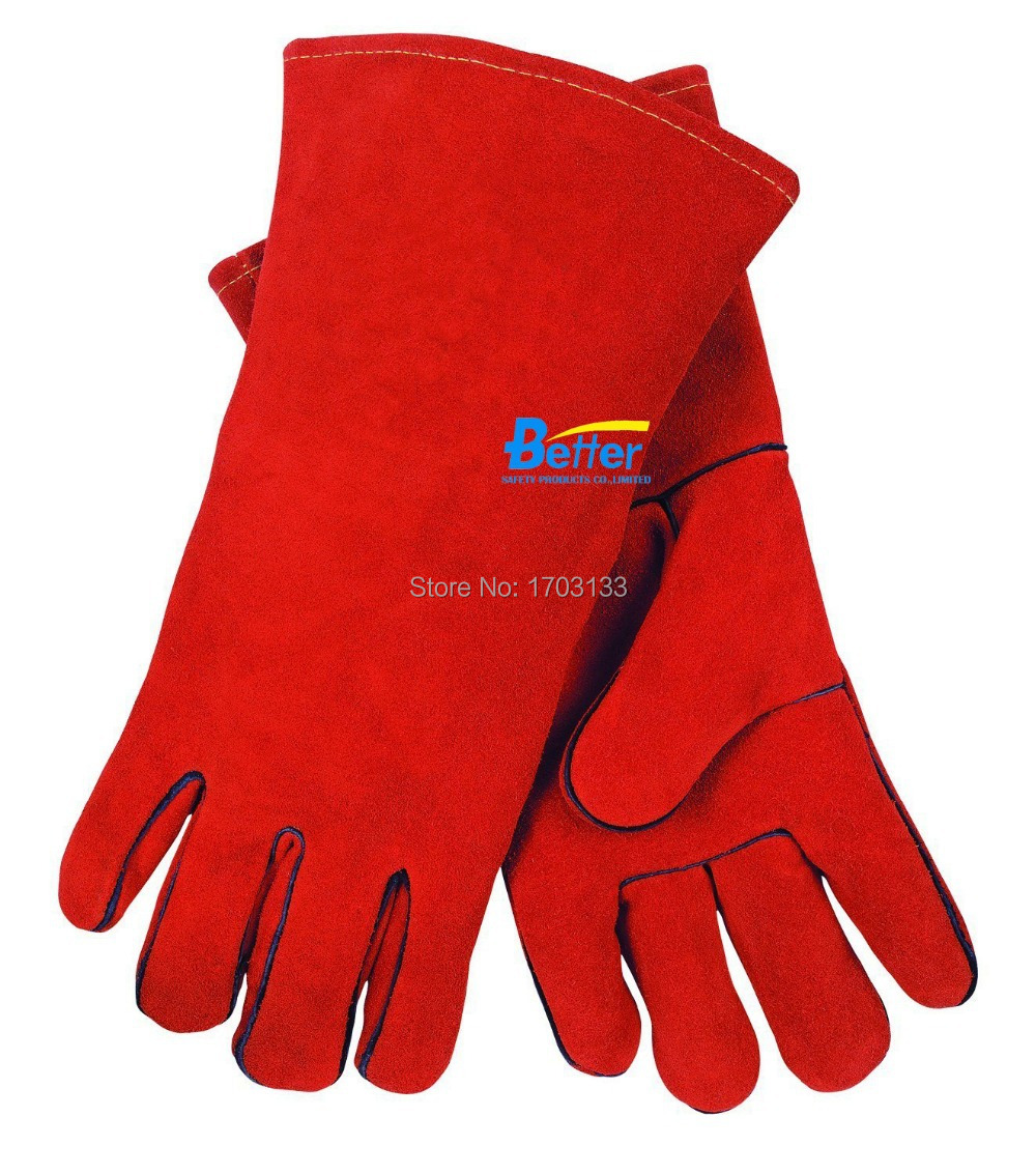 Leather work gloves china -  Leather Work Glove Welding Glove Wing Thumb Split Cow Leather Safety Glove Deluxe Welder Gloves