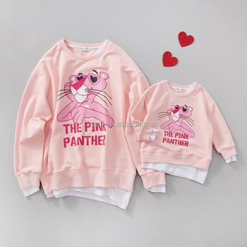 2017 new spring and autumn set of false two cartoon printing parent-child family sweater