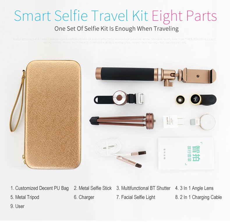New design multi-Function detachable bluetooth shutter mobile high level selfie stick