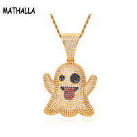 Custom Ghost Spit Tongue Funny Expression Pendant Full Zircon Charm Long Braided Stainless Steel Chain Necklace Hip Hop Jewelry