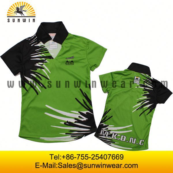High quality polo shirts badminton 2015 team jersey designs for badminton wholesale red badminton polo shirts and black shorts