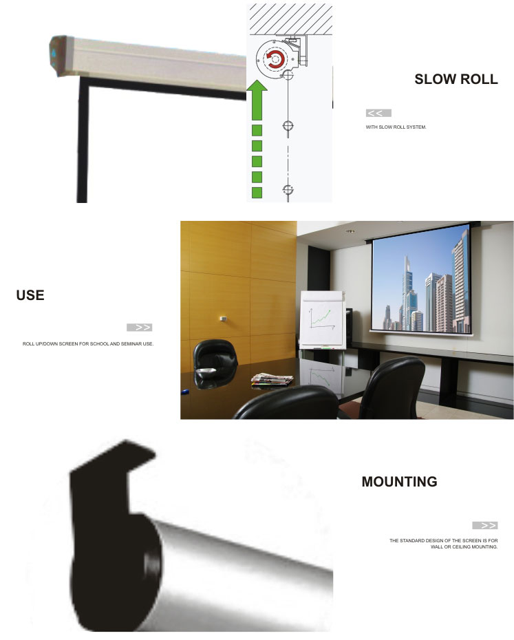 Image bright and vivid &high contrast 63 inches 4:3 Slow retract self lock manual projection screen
