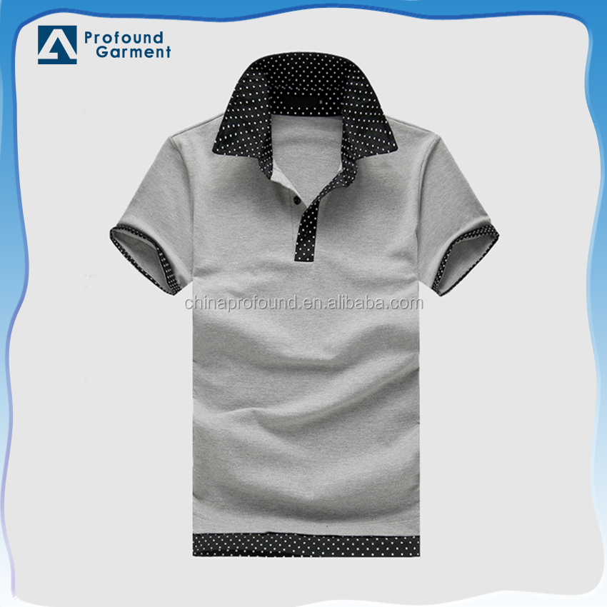 Dri fit short sleeve contrast t-shirt polo collar cotton uniform polo shirts for men
