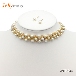Jelly jewelry Fashion Simulated Pearl Statement Necklace Maxi Chokers For Women Wedding Jewelry Femme Bijoux Wholesale