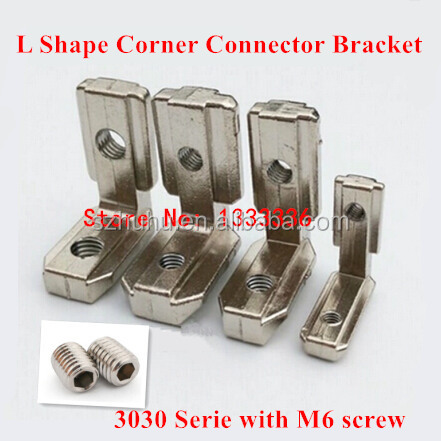 4pcs T Slot L Shape Type 90 Degree 3030 Aluminum Profile Accessories Inside Corner Bracket Connector with M6 Grub Screw