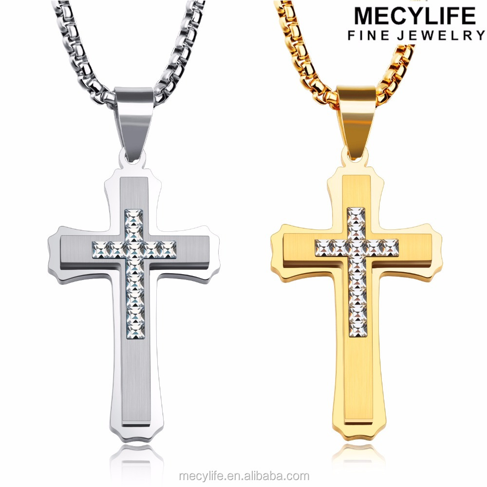 silver link blade twisted cross de pendant square lis necklace fleur badf studded with