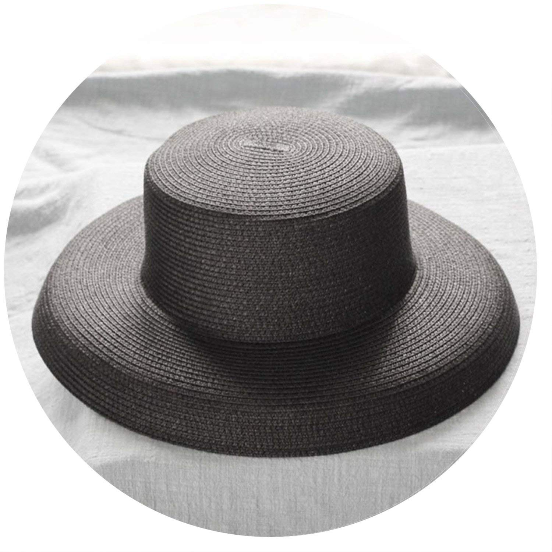 b0ea5b23c5f8b Get Quotations · Women s Retro Wide-Brimmed Straw Hat Urban Monochromatic Sun  Hats Travel Banquet Fedoras Hats