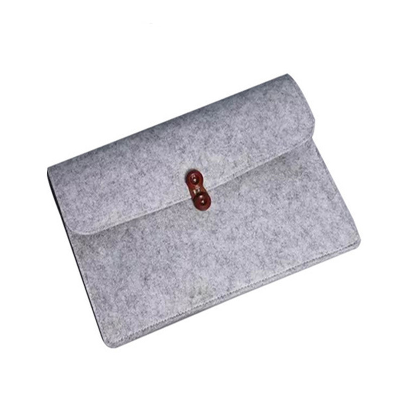 Simple gray 13.3 inch Promotional Instock Custom LOGO Pad PU leather Computer Laptop  Business liner felt laptop sleeve