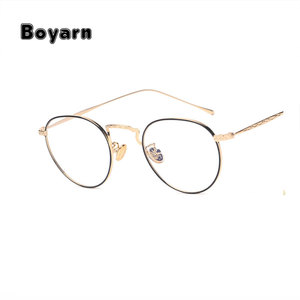Boyarn Brand Small Round Nerd Glasses Clear Lens Unisex Gold Metal Frame Eyeglasses Frames Optical Men Women Black UV oculos