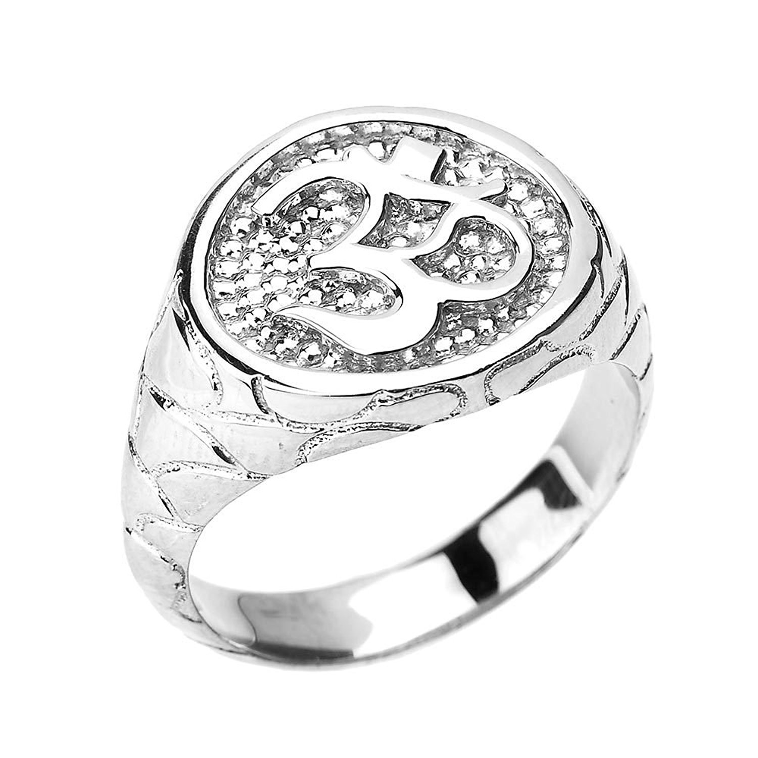 Men's 925 Sterling Silver Hindu Textured Band Om/Ohm Ring