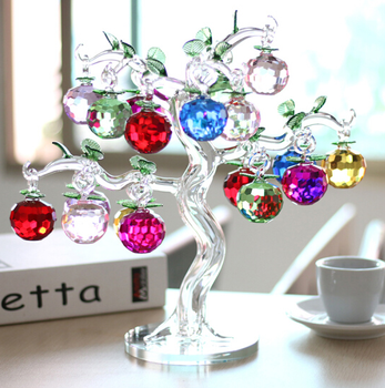 elegant crystal glass apple tree for christmas gift and decorations