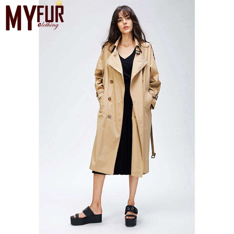 Myfur 2018 Outono Nova das Mulheres Trench Coat Casual Oversize Roupas Double Breasted Lavado Outwear Solto