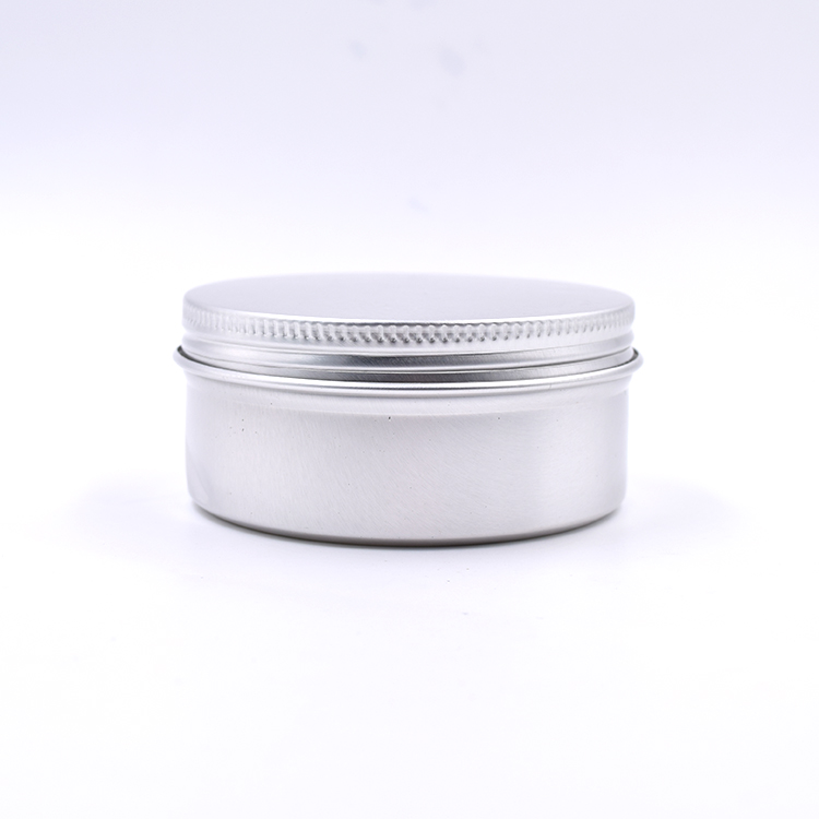 cosmetic packaging 30g 50g 80g 100g 250g silver round empty aluminum jar logo printing for cream, salve, butter, blam, clay