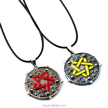 66f72abaa389 Juego witcher 3 yennefer medallón negro cuero gargantilla collar con  colgante para las mujeres niñas