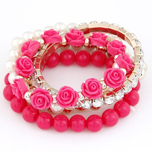 Богемный конфеты цвет жемчуг роза цветок многослойные бусины простирание подвески браслет и браслет для женщины браслеты mujer