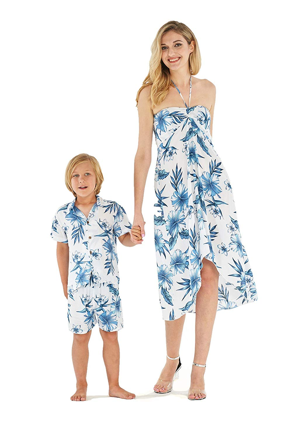 676d657a9287 Hawaii Hangover Matching Mother Son Hawaiian Luau Outfit Dress Shirt in  Simply Blue Leaves