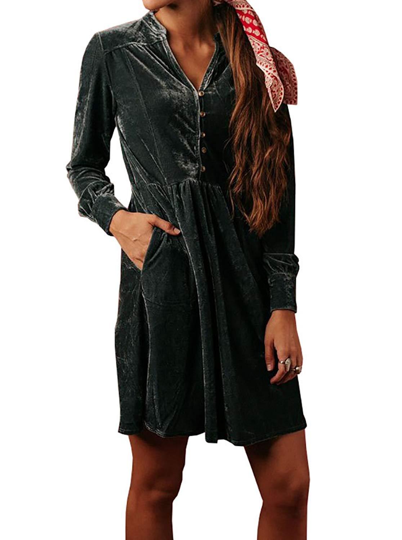 d24bddfe63261 Get Quotations · Imily Bela Womens Velvet Jumper Outfit Empire Waist Casual  Henley Slouchy Mini Shirt Dress